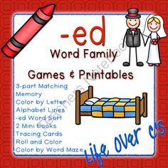 -ed Word Family CVC Games/Centers and Worksheets US/UK Versions from Life Over C's on TeachersNotebook.com -  (36 pages)  - 10 fun activities and printables for the the -ed CVC word families. Great for word work & literacy centers.