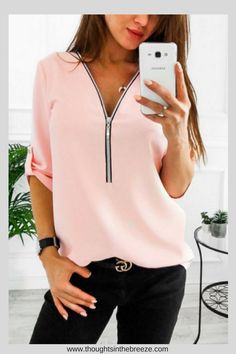 $22.00 V Neck Zipper Plain Blouses. Luvyle is having a huge sale on many classy chic tops, their stylish spring/summer collection is filled with trendy tops perfect for any occasion. These are perfect for a capsule wardrobe, party, date night, or a casual day. They have camisoles, sleeveless tops, t-shirts, loose blouses, dressy tops, cute tops and more. #classy, #classytops, #trendy, #trendytops, #camisoles, #style, #fashion, #shopnow, #affiliate, #teens