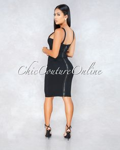 7d26cced1bce Chic Couture Online - Barcelona Black Gold Belt Details Bandage Dress Chic  Couture Online