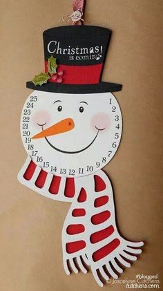 Samantha Walker Imaginary World: Schneemann Advent Print and Cut Tutorial von Joscelyne Cutchens Snowman Christmas Decorations, Snowman Crafts, Christmas Countdown, Christmas Crafts For Kids, Christmas Snowman, Christmas Projects, Simple Christmas, Winter Christmas, Holiday Crafts