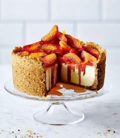 Vanilla cheesecake with blood oranges, caramel & hazelnut Hobnob crust