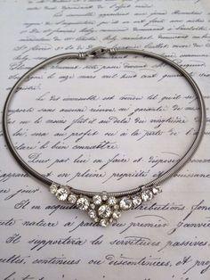 Vintage Early Coro Rhinestone necklace choker by thejunkdiva, $33.50