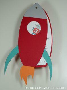 Raketen Einladungskarte Geburtstagsfeier