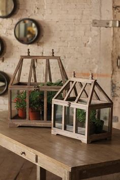 """Set of two glass and wood terrariums. 18"""" x 12 ½"""" x 26"""""""