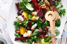 Goat's Cheese, Beetroot and Almond Salad White Wine Vinegar, Delicious Magazine, Rabbit Food, Toasted Almonds, Eat Smarter, Beetroot, Goat Cheese, Cobb Salad, Salad Recipes