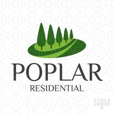 Logo shows a group of poplar trees. Logo can be used for various businesses, such as for example: bed and breakfast, housing developer, country club, day care, garden center, garden supplies, grounds maintenance, hospice care, landscaper, landscaping, lawn care, natural habitat, nursing care, real estate, rehab center, residential community, resort, senior center, wellness center, wildlife preservation, yoga retreat location, holiday location and many more.
