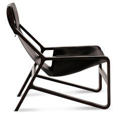 Toro Black Leather Sling Chair - Side