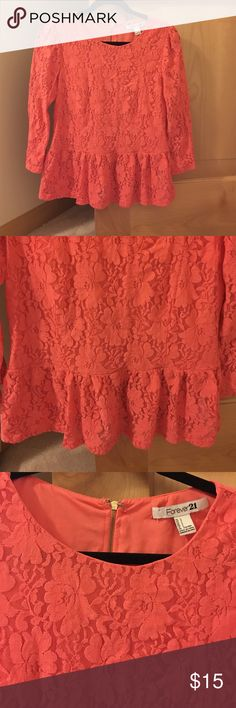 Coral lace peplum top I LOVE THIS SHIRT. Only worn twice but it's too small :( Forever 21 Tops Blouses