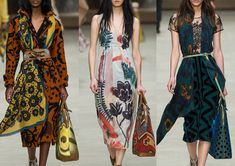 Burberry Prorsum A/W 2014/15-Painterly Blooms – Flowing Pattern – Brushstroke Florals – Contrasting Geometric Pattern – Oversized Prints – High Contrast Pattern – Mixed Scale – One Colour Prints – Hand Painted Motif