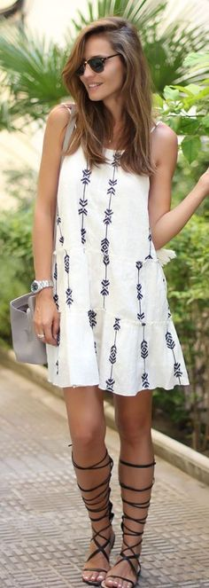 Embroidered Sun Dress This is actually VERY CUTE! I REALLY LIKE IT 2017 I'd love to get this please