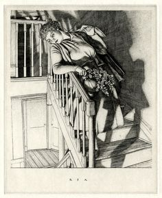 "Robert Austin: ""Girl on Stairs"", 1937; etching."