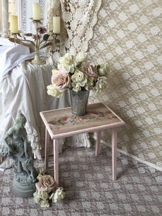 A personal favorite from my Etsy shop https://www.etsy.com/listing/230743277/shabby-painted-cottage-chic-pink-stool