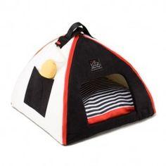 Cama Iglu Para Gatos Mon Petit Dome Negro-Blanco