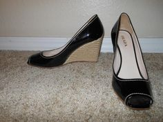 Prada Black Patent Rope Wedge Square Peep TOE Heel Size 38.5 #Prada #PlatformsWedges #Casual