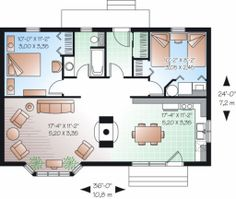 Plan 23-754   874 sq ft.  [Reverse living room and kitchen/dining areas - dining nook in bay window area]