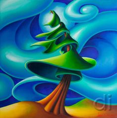 Dana Irving Feeling the Wind 1 16 x 16 Landscape Illustration, Landscape Art, Landscape Design Program, Abstract Nature, Abstract Art, Naive Art, Canadian Artists, Mandala Design, Tree Art