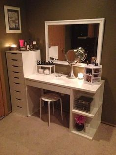 Related posts: IKEA ALEX Gray Drawer unit Office desk with IKEA ALEX drawer units as base. Except use as a makeup vanity i… IKEA LACK White Wall shelf unit Make-up room inspiration! I love this vanity in my makeup room! Cute Room Decor, Teen Room Decor, Bedroom Desk, Room Ideas Bedroom, Bedroom Office, Vanity Room, Vanity Mirrors, Makeup Room Decor, Stylish Bedroom