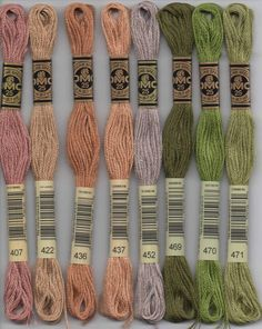 DMC six-stranded embroidery floss - 407, 422, 436, 437, 452, 469, 470, 471