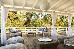 outdoor covered patio design | Kristen Hutchins Design - decks/patios - white, grommet, outdoor ...