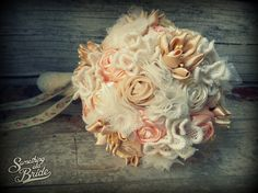 Vintage Lace Bridal Bouquet and Groom Pin www.somethingoldbride.com