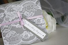 Grey and Lavender Wedding Invitations Lace by alwaysbyamber