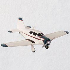 "GALLERIE II 3/"" HANDPAINTED WHITE PROPELLER PLANE CESSNA AIRPLANE XMAS ORNAMENT"