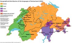 Geographical distribution of the languages in Switzerland, 2000.