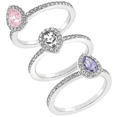 Swarovski Christie Swarovski Crystal and Silvertone Ring Set - 3 ($199) ❤ liked on Polyvore featuring jewelry, rings, silver, triple ring, silver jewellery, band rings, swarovski crystals jewelry and set rings