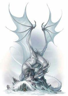 Ice dragon hunting down its prey | Dragons, Mythical, Fantasy, Art