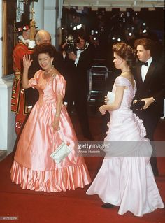 Princess Margaret arrives with her children Lady Sarah Armstrong-Jones and David, Lord Linley at the Royal Opera House for a special performance to celebrate the 60th birthday of Queen Elizabeth ll on April 21, 1986 in London, England