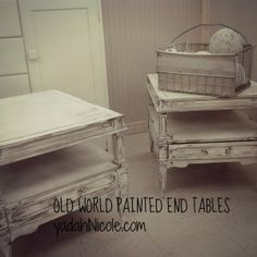 Old World Painted End Tables http://www.yadahnicole.com/2014/02/07/old-world-painted-end-tables/