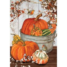 Fall Garden Flag, Garden Flag Stand, Autumn Garden, Garden Flags, Autumn Painting, Autumn Art, Pumpkin Canvas Painting, Fall Paintings, Canvas Paintings