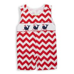 #LWD 's Adorable Red Chevron Whale Smock Shortall is Perfect for your Little Guy this 4th of July! Shop all Our Sunny Styles for your Favorite Boy by Clicking the Image or Link!  http://www.lollywollydoodle.com/collections/boys/products/red-chevron-whale-smock-shortall?utm_source=Pinterest