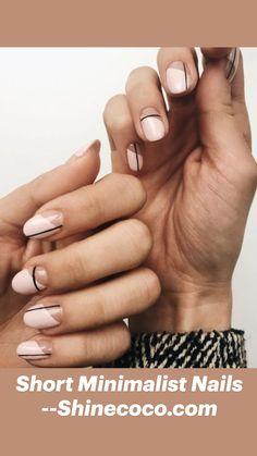 Line Nail Designs, Round Nail Designs, Gel Nail Polish Designs, Clear Nail Designs, Short Nail Designs, Makeup Designs, Neutral Nail Art, Neutral Nail Designs, Classy Nail Designs