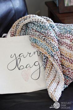 Chunky Crochet Blanket Pattern || FREE BLANKET CROCHET PATTERN || Rescued Paw Designs