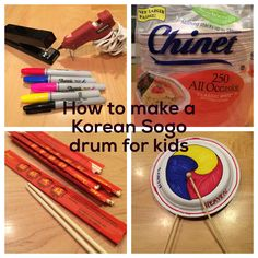 "Make a Korean sogo drum. Use disposable chopsticks from an Asian market. Staple the plates (Chinet paper, lunch size) together then insert the narrow end of one chopstick in between the plates and staple on each side of the chopstick. Hot glue to secure the chopstick. Attach 1/2"" wooden bead to the drum stick and secure with hot glue.  The bead on the stick is not necessary but it looks good. Then decorate with markers. Also decorate with ribbon by using a hole punch."