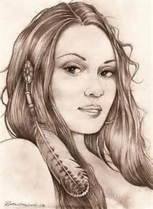 Image result for Sketches of Native American Girl