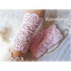 Elegante Spitzenstulpen aus elastischer Spitze mit floralem Muster in zartem Rosa♥