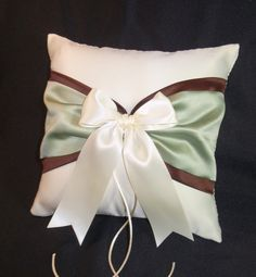Use coupon code PINITFREESHIP for FREE shipping! Sage Green & Chocolate Brown Ivory or White Wedding ring bearer pillow by Jessicasdaydream