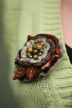 Купить Брошь текстильная Есения. Брошь из ткани - брошь текстильная, брошь купить