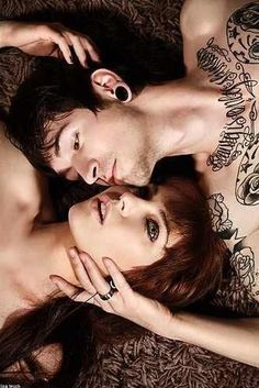 Fan Art of Tattooed Couples for fans of Tattoos 16790687 Dark Photography, Couple Photography, Wedding Photography, Tattooed Couples Photography, Piercings, Lip Piercing, Hot Couples, Lip Plumper, Couples