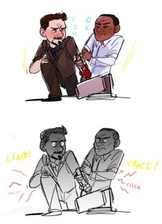 Tony and Rhodey throw out their backs - that's what you get for trying to lift Mjolnir.