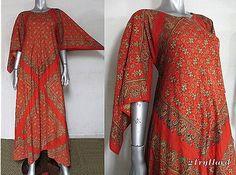 Vintage 1960s Volcanic Hued Bandana Print Angel Sleeve Ethnic Caftan Dress Sz S | eBay