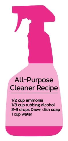 (All-Purpose Cleaner Recipe: 1/2 cup ammonia, 1/3 cup rubbing alcohol, 2-3 deposit Dawn dish soap, + 1 cup water...!)