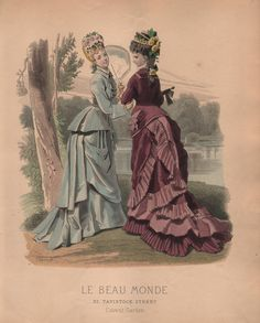 Victorian French Women's Fashion Plate of a Stroll by the Lke from Le Beau Monde of the 1870s (Print or Digital Image). $9,00, via Etsy.