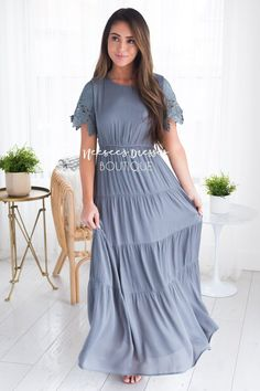 Grey Modest Dress | Best and Affordable Modest Boutique | Cute Modest Dresses and Skirts for Church - NeeSee's Dresses
