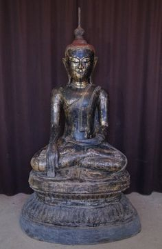 Large 17th century Buddha Material: lacquer 158 cm high 90 cm wide 63 cm deep Shan (Tai Yai) style Bhumisparsha Mudra 17th century Goldplated with 24 krt. gold Still in perfect condition !! Originating from Burma