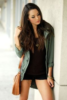 black dress with casual jacket!