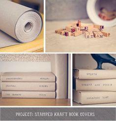 Simple DIY stamped Kraft paper book covers