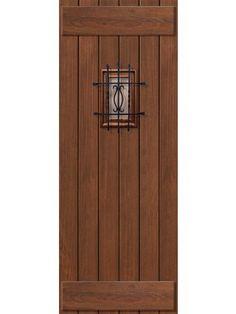 """Plank Cherry, Alder & Walnut Door with Speakeasy & Composite Straps • 8' 0"""" Tall"""